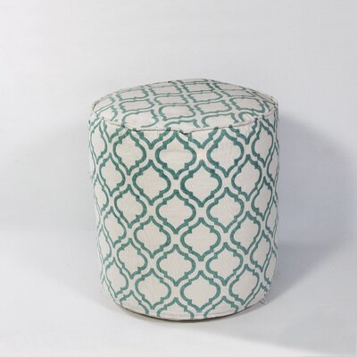 Deforge Arabesque Pouf Upholstery: Ivory/Teal