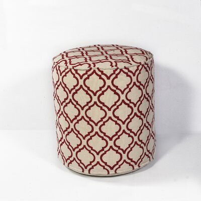 Deforge Arabesque Pouf Ottoman Upholstery: Ivory/Red