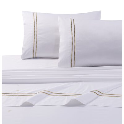 Bolivar 400 Thread Count Dot Embroidered Cotton Deep Pocket Sheet Set Size: King, Color: Gold