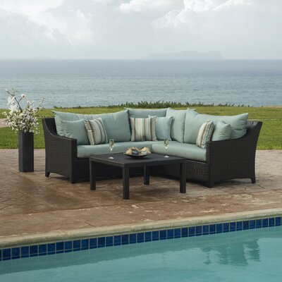 Northridge 4 Piece Sectional Seating Group with Cushions Fabric: Bliss Blue
