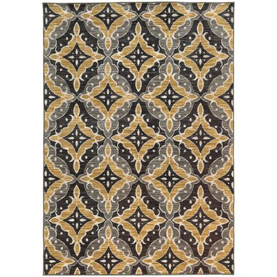 Fairborn Floral Charcoal/Gold Area Rug Rug Size: Rectangle 53 x 76