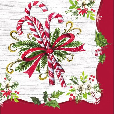 Candy Cane Paper Cocktail Napkin