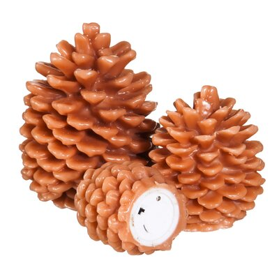 Pinecone Shaped Battery Operated LED 3 Piece Flameless Pillar Candle Set