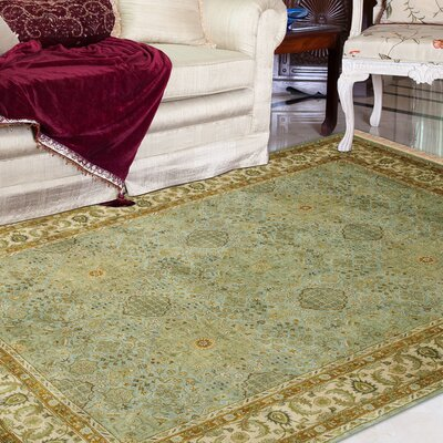 Defranco Hand-Tufted Green/Beige Area Rug Rug Size: Rectangle 96 x 136