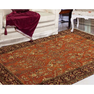 Defranco Hand-Tufted Cinnamon/Brown Area Rug Rug Size: 96 x 136