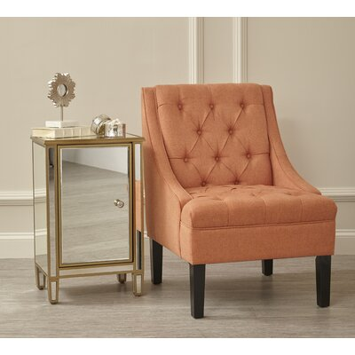 Button Tuffed Armchair Upholstery: Orange