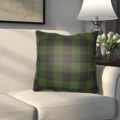 Travers Indoor Outdoor Throw Pillow Size: 18 H x 18 W x 4 D, Color: Green/Black