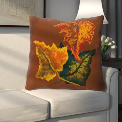 Autumn Colors Flower Print Throw Pillow Color: Brown