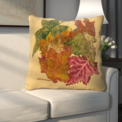 Autumn Leaves Flower Print Throw Pillow Color: Gold