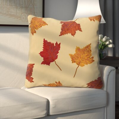 Dancing Leaves Flower Print Throw Pillow Color: Gold