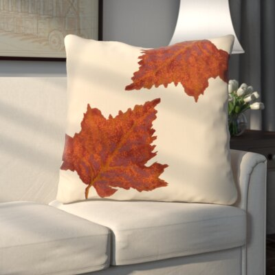 Dancing Leaves Flower Print Throw Pillow Color: Ivory