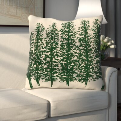 Through the Woods Flower Print Throw Pillow Color: Dark Green