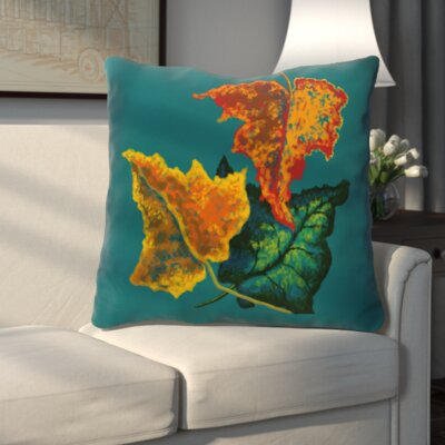 Autumn Colors Flower Print Throw Pillow Color: Teal