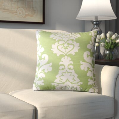 Indoor/Outdoor Damask Cotton Throw Pillow Color: Kiwi