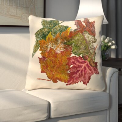 Autumn Leaves Flower Print Throw Pillow Color: Off White
