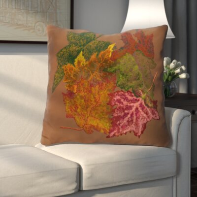 Autumn Leaves Flower Print Throw Pillow Color: Brown