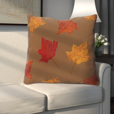 Dancing Leaves Flower Print Throw Pillow Color: Brown