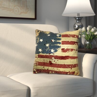 Wallingford Vintage American Flag Throw Pillow Size: 16 H x 16 W