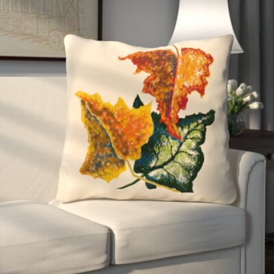 Autumn Colors Flower Print Throw Pillow Color: Off White