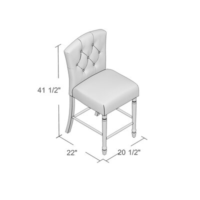 Brookhurst 24 Bar Stool with Cushion Finish: White Washed, Upholstery Color: Pale Blue