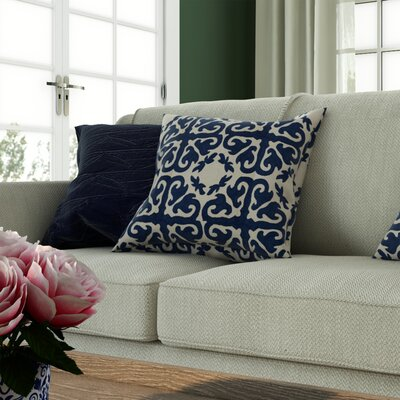 Helene Cotton Throw Pillow Size: 18 H x 18 W x 2.5 D, Color: Navy Blue