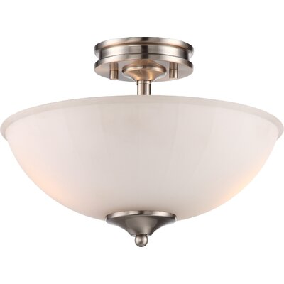 Eich 2-Light LED Semi Flush Mount Base Finish: Brushed Nickel