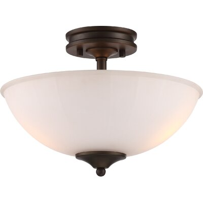 Eich 2-Light LED Semi Flush Mount Base Finish: Aged Bronze