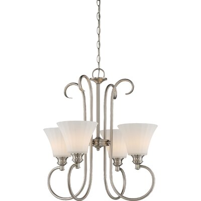 Buggs 4-Light LED Shaded Chandelier Finish: Brushed Nickel