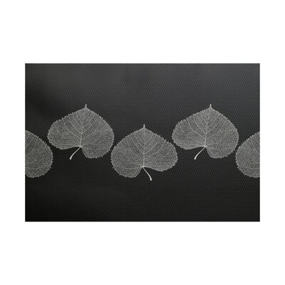 Leatham Leaf 2 Floral Black Area Rug Rug Size: Rectangle 2 x 3