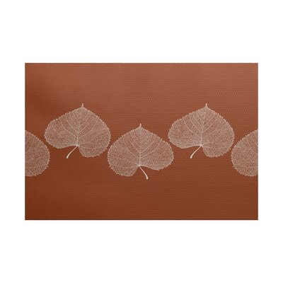 Leatham Leaf 2 Floral Orange Area Rug Rug Size: 5 x 7