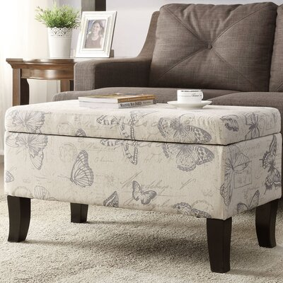 Cohee Storage Ottoman Upholstery: Butterfly Print