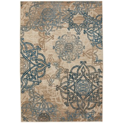 Curtice Ecru/Blue Indoor/Outdoor Area Rug Rug Size: 52 x 76