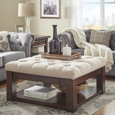 Back East Tufted Ottoman Upholstery: Beige, Base Finish: Espresso