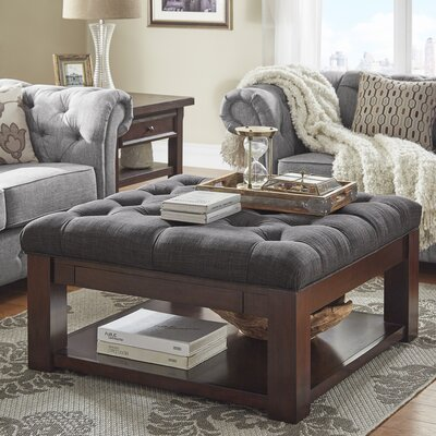 Back East Tufted Ottoman Upholstery: Dark Gray, Base Finish: Espresso