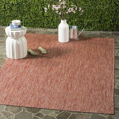 Adelia Red Indoor/Outdoor Area Rug Rug Size: 53 x 77
