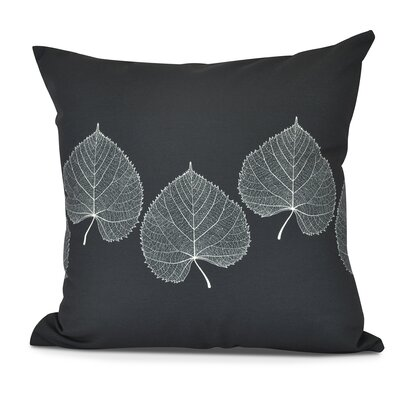 Leatham Leaf 2 Floral Throw Pillow Color: Black, Size: 20 H x 20 W