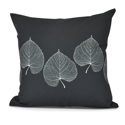 Leatham Leaf 2 Floral Outdoor Throw Pillow Color: Black, Size: 18 H x 18 W
