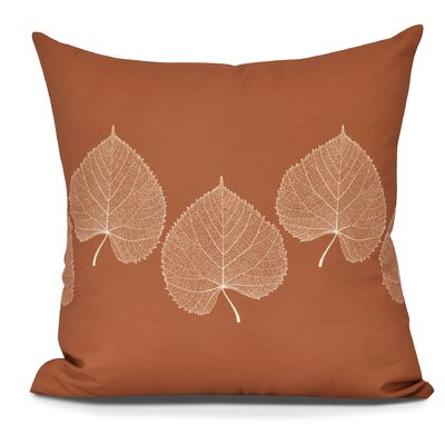 Leatham Leaf 2 Floral Throw Pillow Size: 26 H x 26 W, Color: Orange