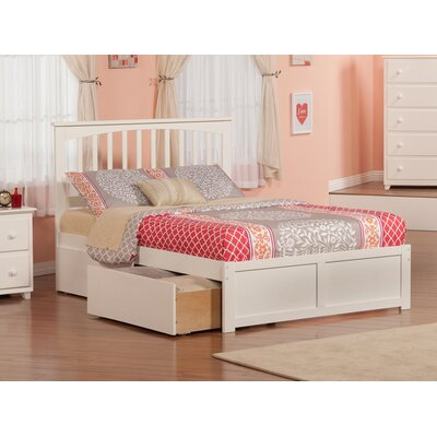 Deandre Traditional Wood Storage Platform Bed Finish: White, Size: Full