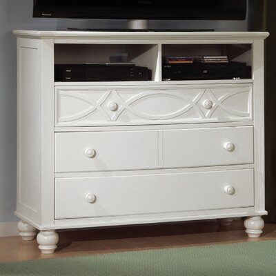 Zee 4 Drawer Media Dresser Color: White