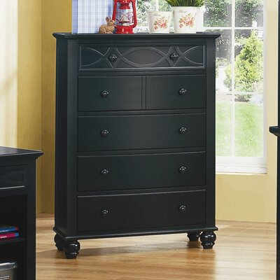 Zee 5 Drawer Chest Color: Black