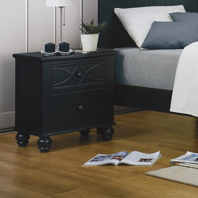 Hanning 2 Drawer Nightstand Color: Black