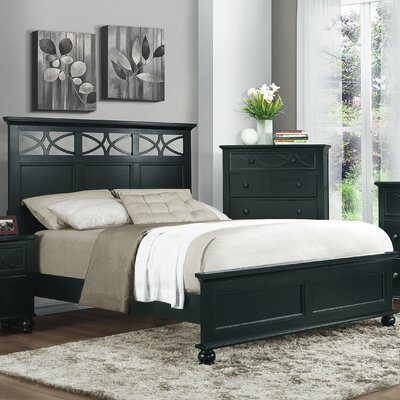 Brookstonval Panel Bed Finish: Black, Size: Queen