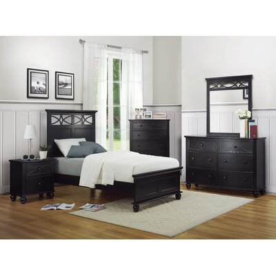 Hanning Panel Bed Size: Twin, Color: Black