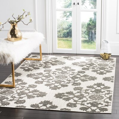 Cream/Gray Indoor/Outdoor Area Rug Rug Size: Square 67