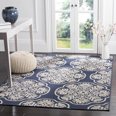 Navy/Cream Indoor/Outdoor Area Rug Rug Size: 9 x 12