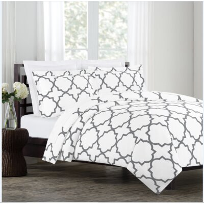Prattsburgh Duvet Set Size: King, Color: White/ Gray