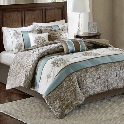 Oglethorpe Jacquard 7 Piece Reversible Comforter Set Size: Queen