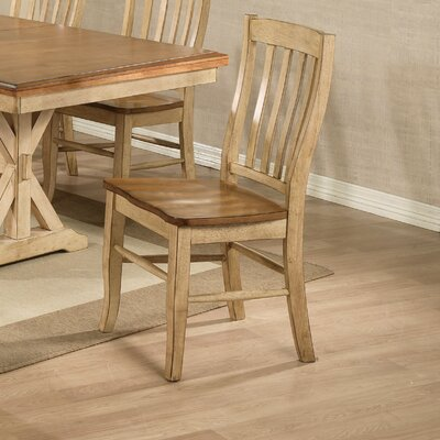 Courtdale Back Solid Wood Dining Chair (Set of 2) Finish: Almond / Wheat