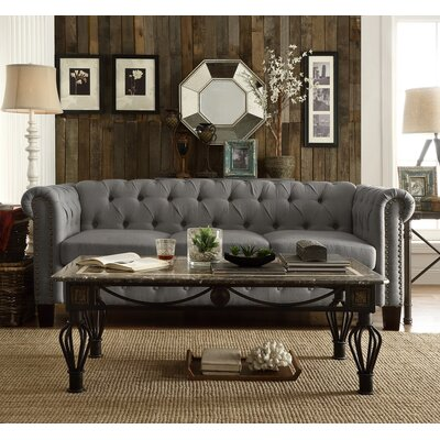 Trevino Chesterfield Sofa Upholstery: Gray